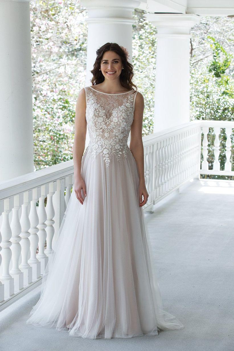 Illusion wedding dress neckline
