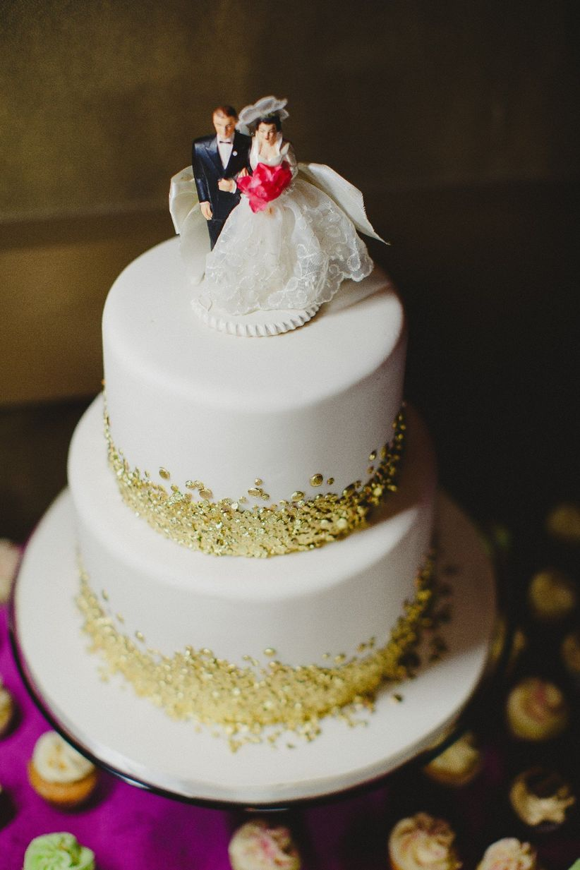 Wedding cake with gold sprinkles