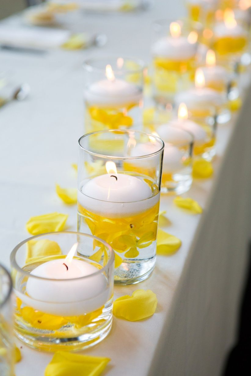 Votives with flowers and candles
