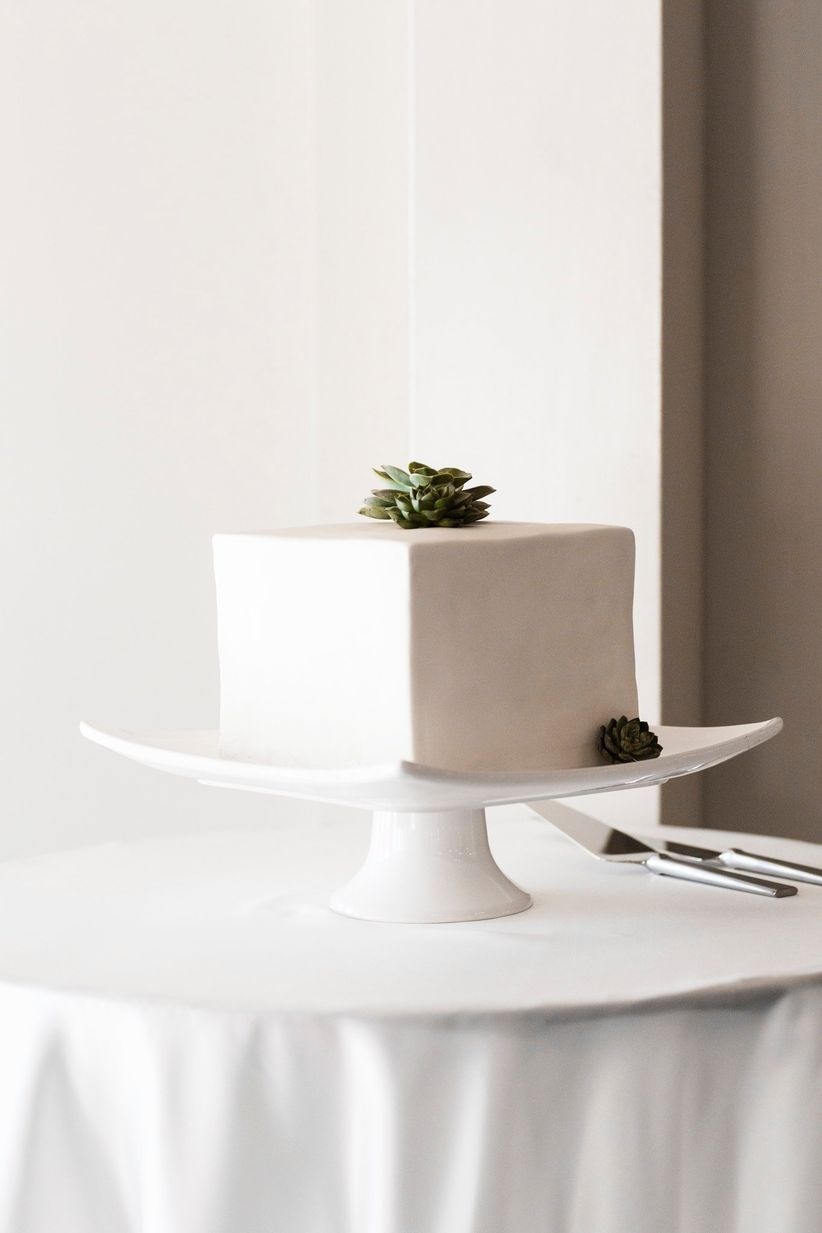 Square wedding cake with fondant icing